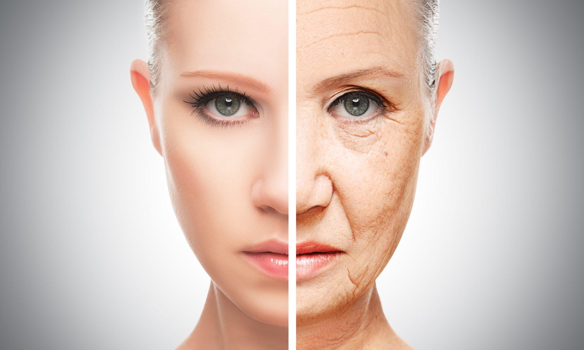 Geteiltes Gesicht einer Frau in alt und jung