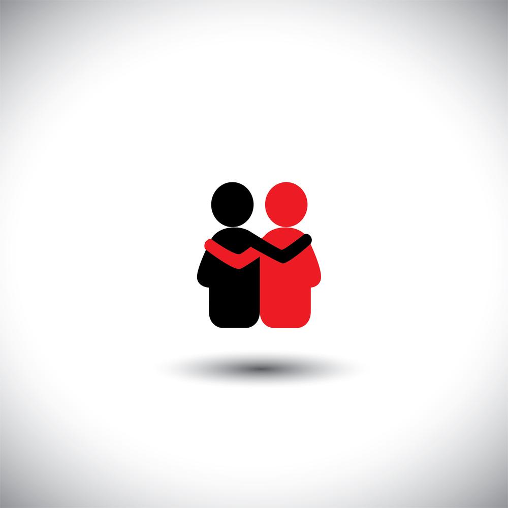 schwarzes und rotes männchen umarmen sich